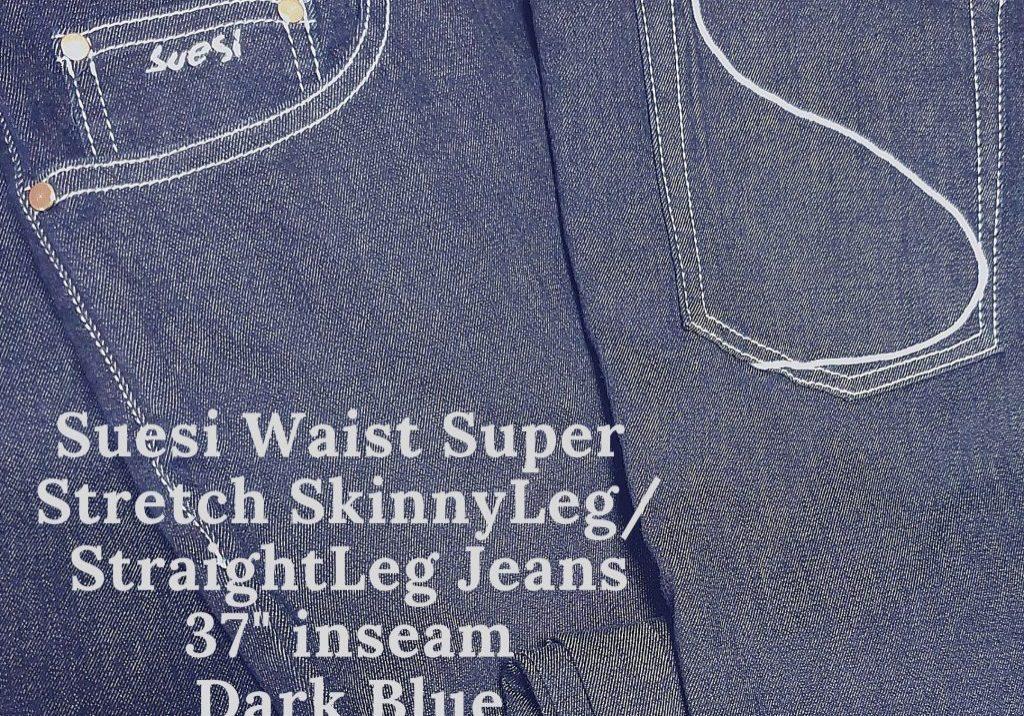 Suesi Waist Super Stretch SkinnyLeg_StraightLeg Jeans 37_ inseam Dark Blue